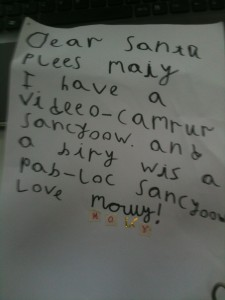 Molly - Letter to Santa 2010